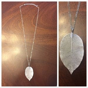 Silver real leaf necklace